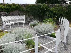 Headford Lacemakers Garden with Lace Bench by Kilkee Forge